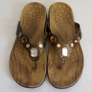 Vionic Eve Jewel Brown Thong Sandals